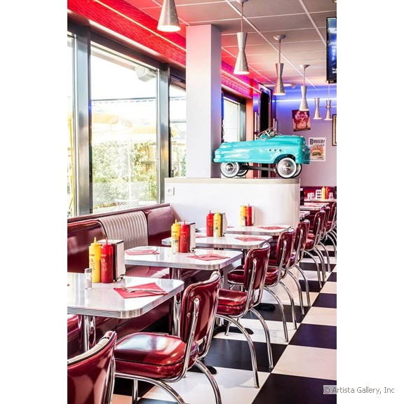 quarterback_american_house_restaurant_diner_seating_with_pedal_car